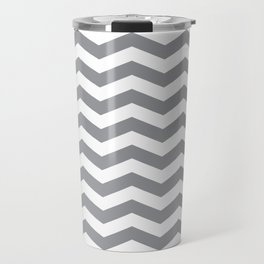 Grey Chevron Pattern Travel Mug