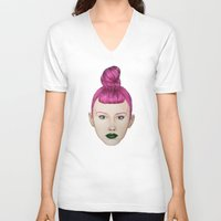 ufo V-neck T-shirts featuring UFO by Cannibal Malabar