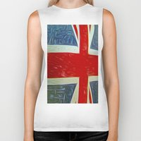 union jack Biker Tanks featuring  Union jack Flag by  Alexia Miles photography