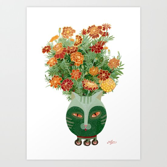 Marigolds in cat face vase  Art Print