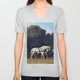 12,000pixel-500dpi - Phaeton With A Pair Of Cream Ponies And A Stable-lad - George Stubbs Unisex V-Neck