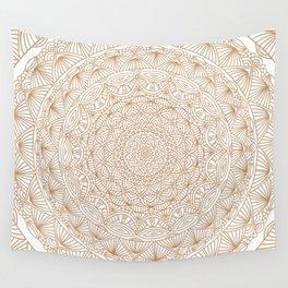 Brown Tan Intricate Detailed Hand Drawn Mandala Ethnic Pattern Design Wall Tapestry