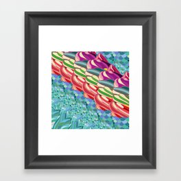 Rainbow Mermaid Pattern Framed Art Print