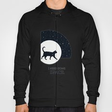 I need some space funny cat illustration with white stars and blue sky Hoody