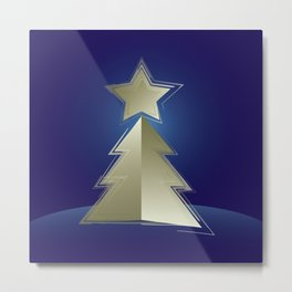 Golden Christmas tree Metal Print