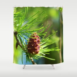 Spring Larch Macro Close Up Shower Curtain