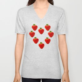 strawberry heart Unisex V-Neck
