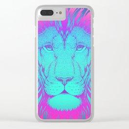 Majestic Soul (Neon Lion) Clear iPhone Case