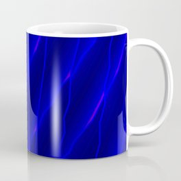 Slanting repetitive lines and rhombuses on luminous blue with intersection of glare. Coffee Mug