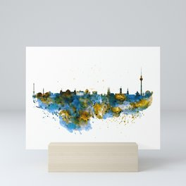 Berlin watercolor skyline Mini Art Print
