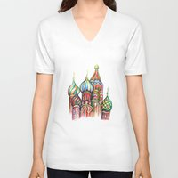 russia V-neck T-shirts featuring Russia by Lam Designs