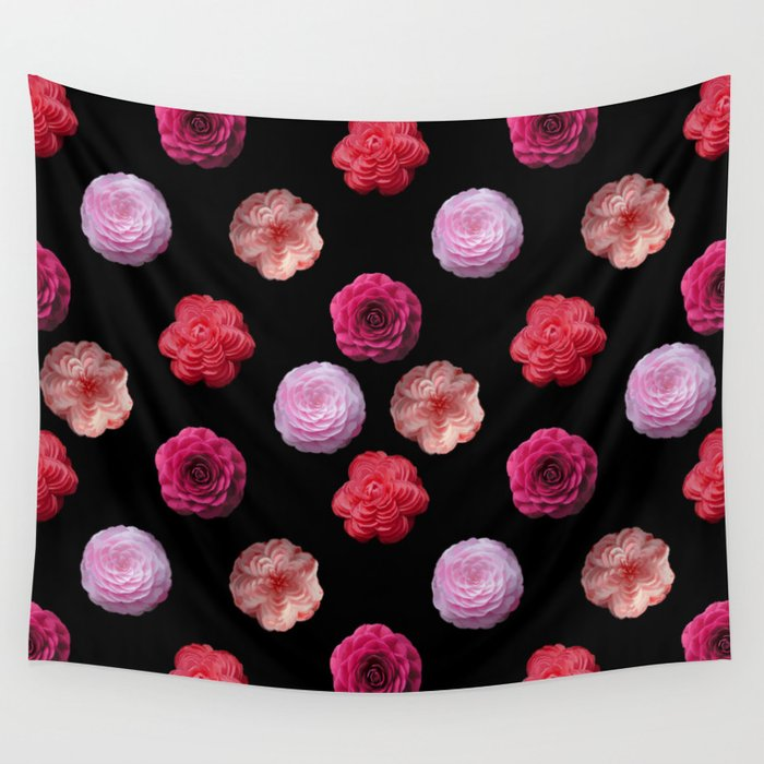 Pattern with camellias Wall Tapestry