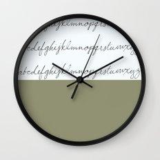 Alphabet-Khaki Wall Clock