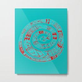 Snake Entwine - red blue folk art pattern  Metal Print
