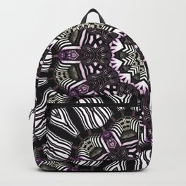 Mandala in black and white with hint of purple and green Backpack