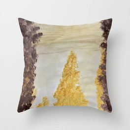 Golden secluded forest Throw Pillow