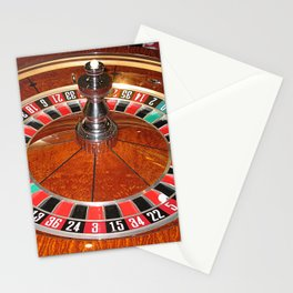 Wooden Roulette wheel casino gaming Stationery Cards