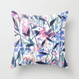 Wandering Wildflowers Blue Throw Pillow