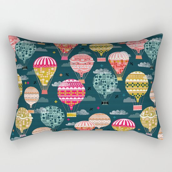 Hot Air Balloons - Retro, Vintage-inspired Print and Pattern by Andrea Lauren Rectangular Pillow