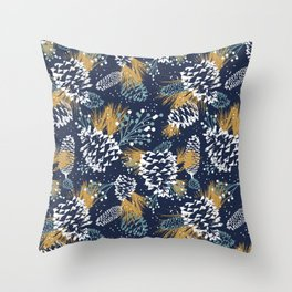 Festive Forest - Navy Throw Pillow