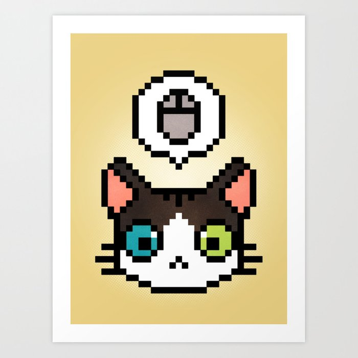 Pixel cat Art Print