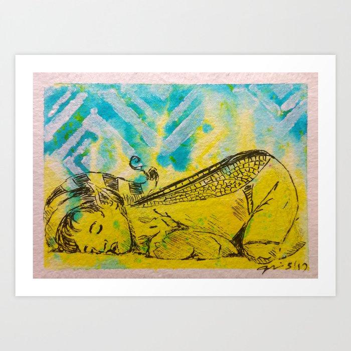 Taking a Wee Nap ( Sleeping Fairy ) Art Print