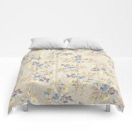 Vintage ivory linen blue yellow gold floral pattern Comforters