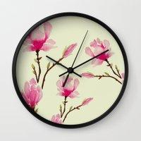 craftberrybush Wall Clocks featuring Pink Magnolia  by craftberrybush
