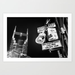 Nashville Skyline and Broadway Neon Lights - BW Monochrome Art Print