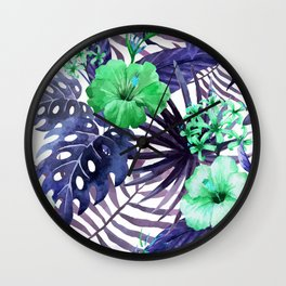 Watercolor botanical leaves Wall Clock