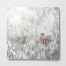 Bullfinch Birds Sitt On The Fence In Grey Winter Day Xmas #decor #society6 Metal Print