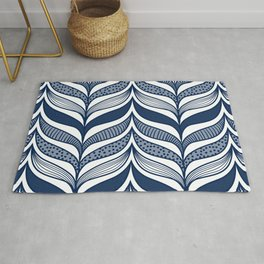 Abstract Whale Fins - Modern Waves Blue Rug