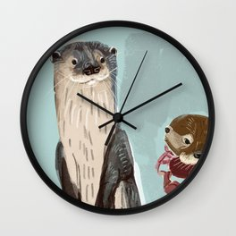 New World otters Wall Clock