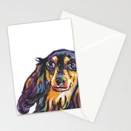 Longhaired Dachshund Fun Dog Portrait bright colorful Pop Art Painting by LEA Stationery Cards