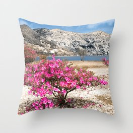 Azaleas in dry land Throw Pillow