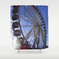 ferris wheel Shower Curtains featuring Ferris Wheel by JMPhotography
