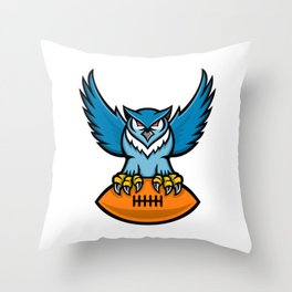 Great Horned Owl American Football Mascot Throw Pillow