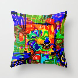 Explosive smudges of mysterious infinity from blue lines and a gold square cycle. Throw Pillow