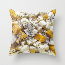 Pieces of feta and greek cheese Throw Pillow
