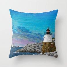 Newport Harbor Lighthouse Throw Pillow