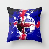 iceland Throw Pillows featuring football Iceland by seb mcnulty