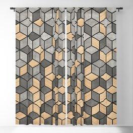 Concrete and Wood Cubes Blackout Curtain