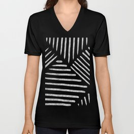 Lines and Patterns in Black and White Brush Unisex V-Neck