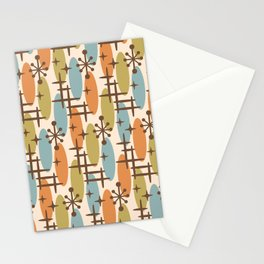 Retro Mid Century Modern Cosmic Surfer Pattern 234 Stationery Cards