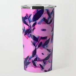 Layered Leaf Floral Pink Travel Mug
