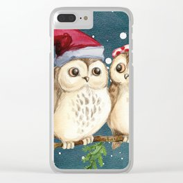 Cute Christmas Winter Owl Couple Painting Clear iPhone Case