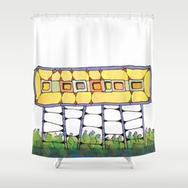 Funky yellow architectural design 51 Shower Curtain