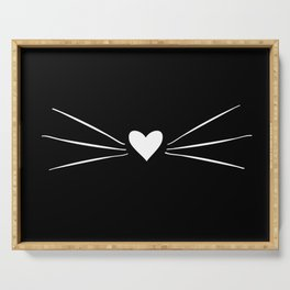 Cat Heart Nose & Whiskers White on Black Serving Tray