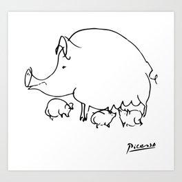 Pablo Picasso Pig Drawing, Lines Sketch, Animals Artowork, Men, Women, Kids, Tshirts, Posters, Print Art Print