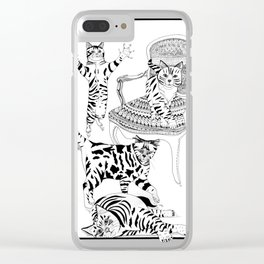 Cats with a chair - Ink artwork Clear iPhone Case